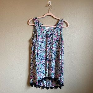 Charming Charlie Neon Paisley Print Tank Top Large